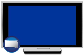a big screen tv with blue screen - with South Dakota icon