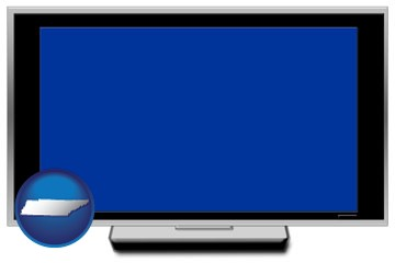 a big screen tv with blue screen - with Tennessee icon