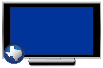 a big screen tv with blue screen - with Texas icon
