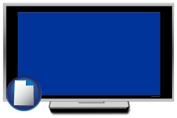 a big screen tv with blue screen - with Utah icon