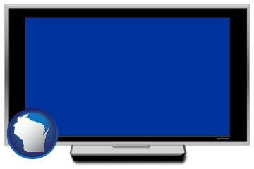 a big screen tv with blue screen - with Wisconsin icon