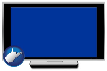 a big screen tv with blue screen - with West Virginia icon