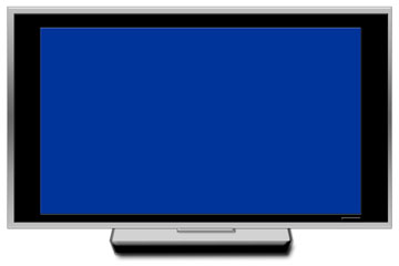 a big screen tv with blue screen