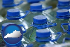 kentucky map icon and bottled water