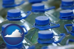 virginia map icon and bottled water