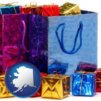 ak map icon and gift bags and boxes