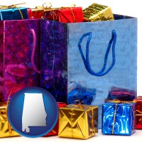 al map icon and gift bags and boxes