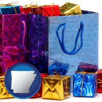 ar map icon and gift bags and boxes
