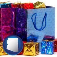 az map icon and gift bags and boxes