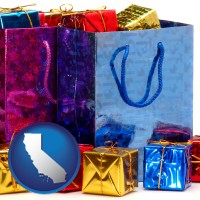 ca map icon and gift bags and boxes