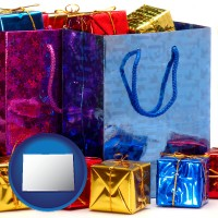 co map icon and gift bags and boxes