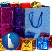 de map icon and gift bags and boxes