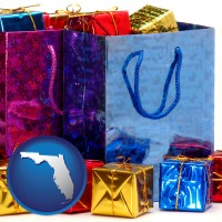 fl map icon and gift bags and boxes
