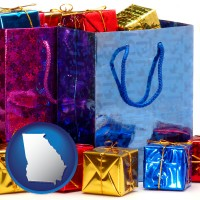 ga map icon and gift bags and boxes