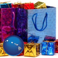 hi map icon and gift bags and boxes