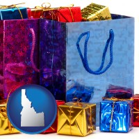 id map icon and gift bags and boxes
