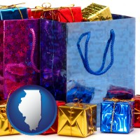 il map icon and gift bags and boxes