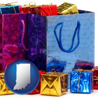 in map icon and gift bags and boxes