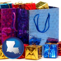 la map icon and gift bags and boxes