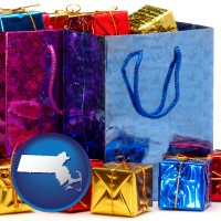 ma map icon and gift bags and boxes