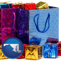 md map icon and gift bags and boxes