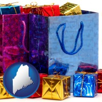 me map icon and gift bags and boxes