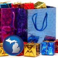 mi map icon and gift bags and boxes