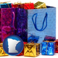 mn map icon and gift bags and boxes