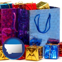 mt map icon and gift bags and boxes