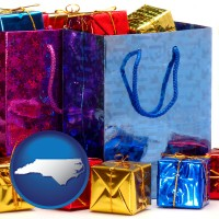 nc map icon and gift bags and boxes