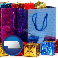 ne map icon and gift bags and boxes