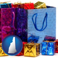 nh map icon and gift bags and boxes