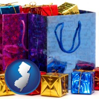 nj map icon and gift bags and boxes