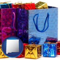 nm map icon and gift bags and boxes