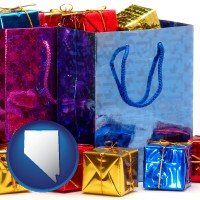 nv map icon and gift bags and boxes