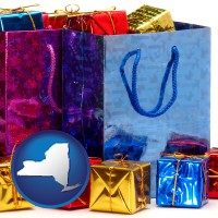 ny map icon and gift bags and boxes
