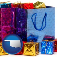 ok map icon and gift bags and boxes