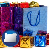 or map icon and gift bags and boxes