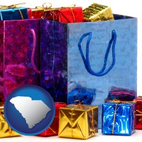 sc map icon and gift bags and boxes