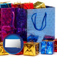 sd map icon and gift bags and boxes