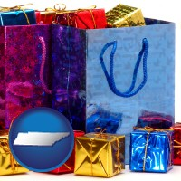 tn map icon and gift bags and boxes