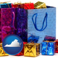 va map icon and gift bags and boxes