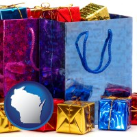 wi map icon and gift bags and boxes