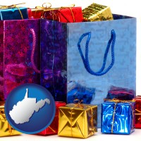 wv map icon and gift bags and boxes