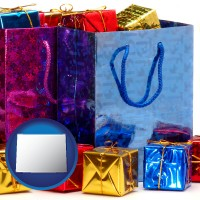 wy map icon and gift bags and boxes
