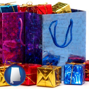 gift bags and boxes - with Alabama icon
