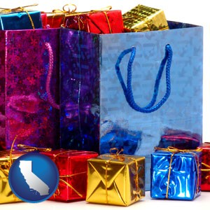 gift bags and boxes - with California icon