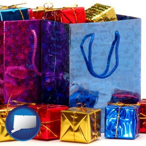 gift bags and boxes - with Connecticut icon