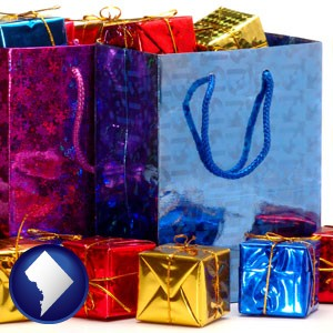 gift bags and boxes - with Washington, DC icon