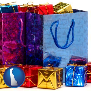 gift bags and boxes - with Delaware icon